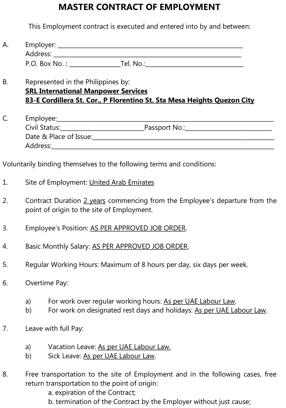 Master Contract of Employment